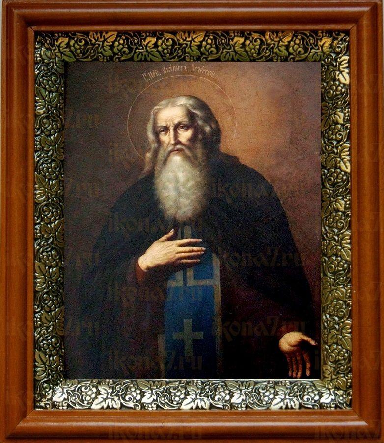Агапит Печерский (19х22), светлый киот