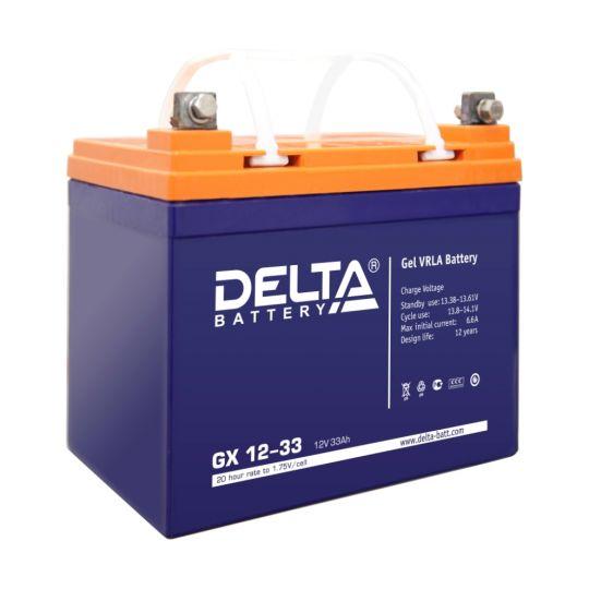 Аккумулятор свинцово-кислотный АКБ DELTA (Дельта) GX 12-33 12 Вольт 33 Ач (Gel)
