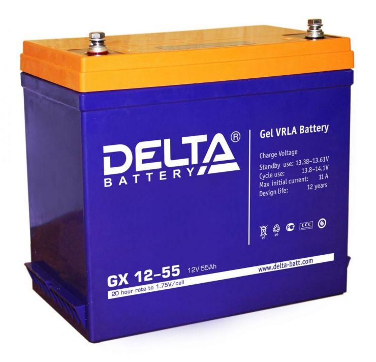 Аккумулятор свинцово-кислотный АКБ DELTA (Дельта) GX 12-55 12 Вольт 55 Ач (Gel)