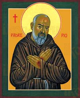 Падре Пио (рукописная икона)