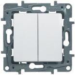 Выключатель двухклавишный, 10A Legrand Etika (Белый)