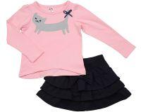 Комплект для девочки с розовой кофточкой и синей юбкой Мини Макси