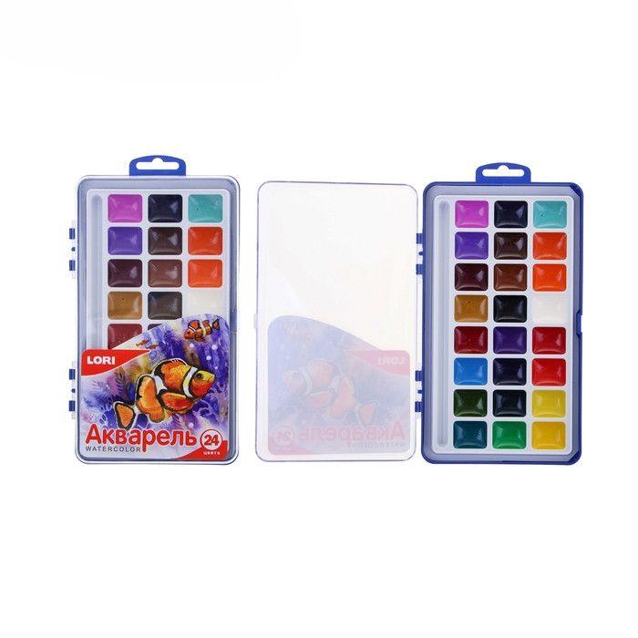 Акварель 24 цвета в пластиковая упаковка (большая) без кисточки