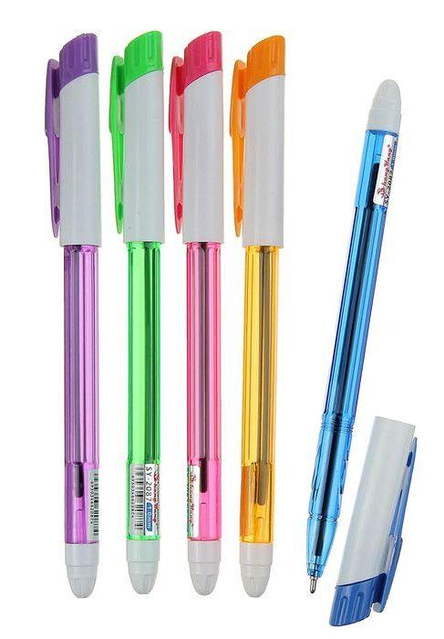 Цветная шариковая ручка с синим стержнем