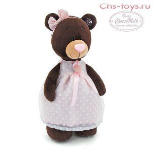 Медведь Milk стоячая в платье с брошью 50, арт. М5046/50