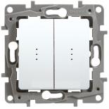 Выключатель/переключатель двухклавишный на два направления с подсветкой, 10A Legrand Etika (Белый)
