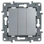 Выключатель трехклавишный, 10A Legrand Etika (Алюминий)