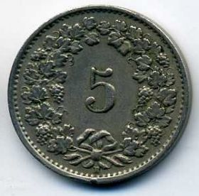 Швейцария 5 раппенов 1951 B