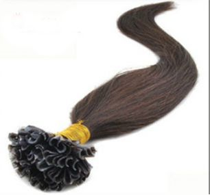 Натуральные волосы на кератиновой капсуле U-тип, №002 Темно-коричневый - 55 см, 100 капсул.