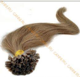Натуральные волосы на кератиновой капсуле U-тип, №008 Темно русый - 60 см, 100 капсул.