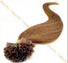 Натуральные волосы на кератиновой капсуле U-тип, №016 Русый с золотистым оттенком - 55 см, 100 капсул.