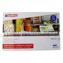Фломастеры 40цв.Edding метал.коробка Е-1300#40SM