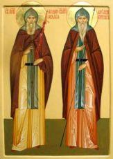 Александр Пересвет и Андрей Ослябя (рукописная икона)