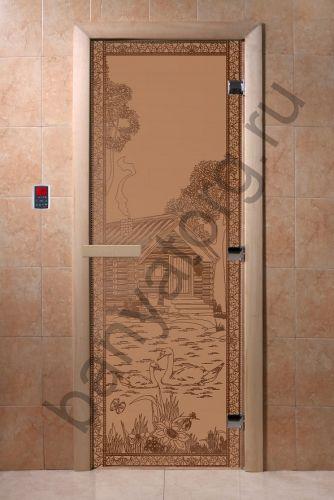 Дверь для бани DoorWood Банька в лесу Бронза матовая