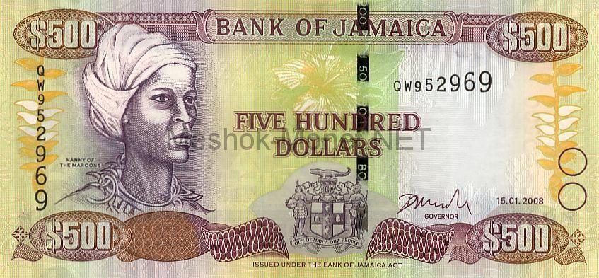 Банкнота Ямайка 500 долларов 2008 год