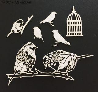 "Чипборд ""Старый парк - птицы"""
