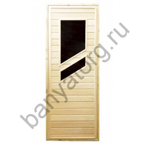Дверь для бани липа с двумя стеклами