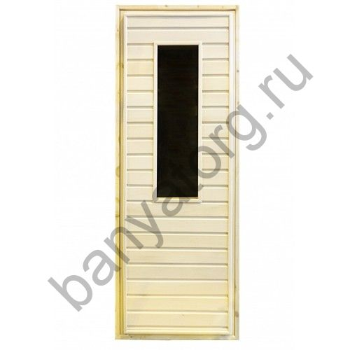 Дверь для бани липа с прямоугольным стеклом