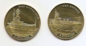 Военные корабли Великобритании.Авианосец Гермес;Линкор Royal OAK Набор монет  5 долларов Науру 2016
