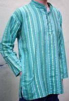 Мужская индийская голубая рубашка в полоску. Купить в интернет магазине в Москве