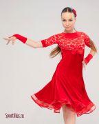 Красное велюровое платье для танцев