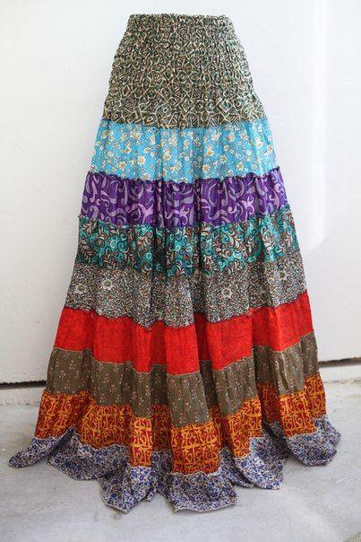 Длинная разноцветная юбка с воланами (СПб)