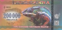 Банкнота Саванна 200000 франков 2016 год