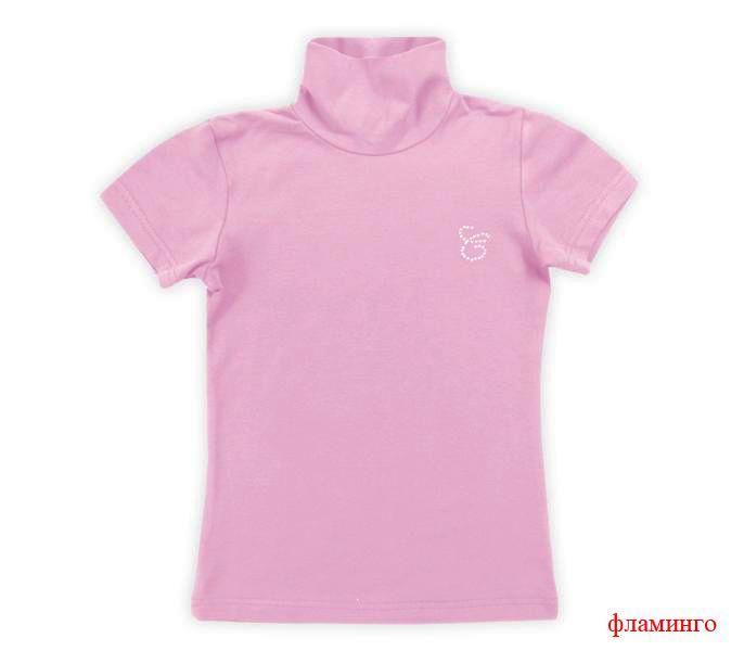 Блуза для девочки цвета фламинго со стразами