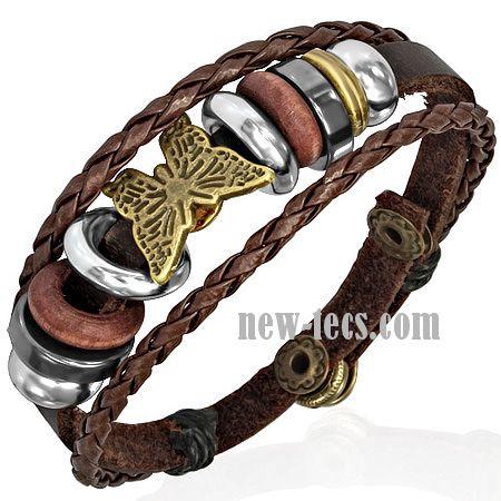 Кожаный браслет с оригинальным декором