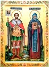 Икона Александр Невский и Александр Свирский (рукописная)