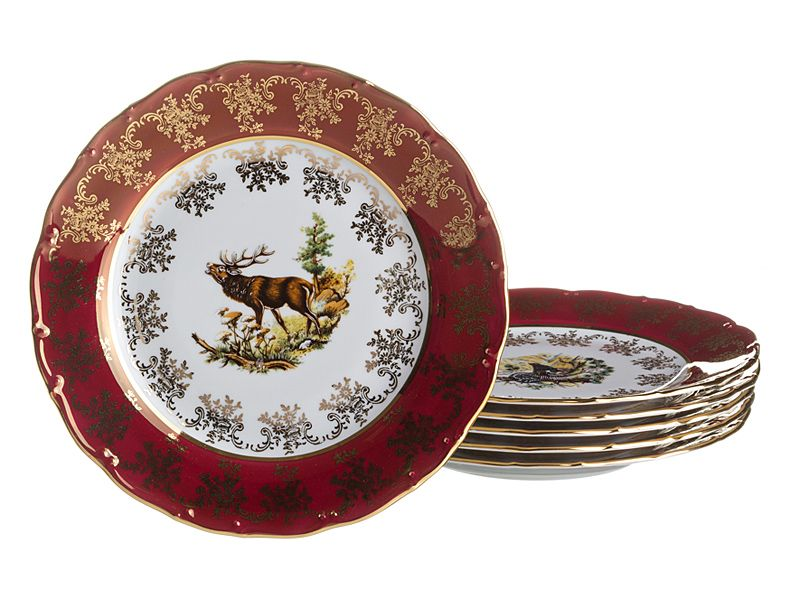 "Набор тарелок ""Красная Охота"", 6 шт., 19 см"