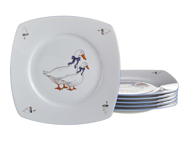 """Набор тарелок """"Тетра Гуси"""", 6 шт., 25x25 см"""