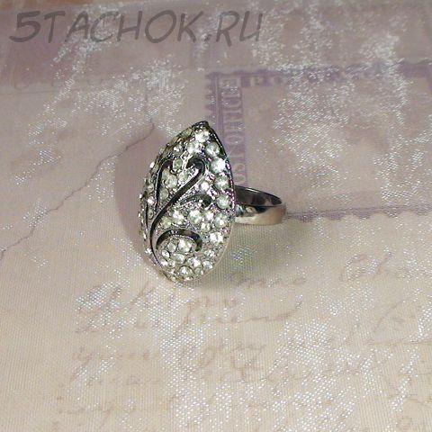 Кольцо каплевидное под серебро