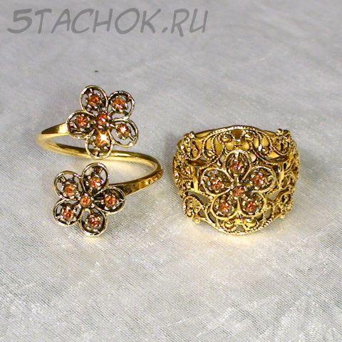 Парные филигранные кольца под золото