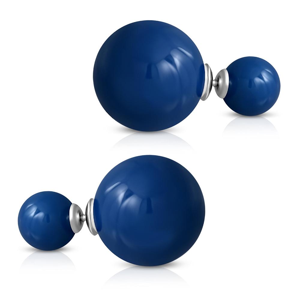 Серьги-пусеты синие