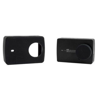 Защитный кейс SMACO + крышка на объектив для  Xiaomi Yi 2 4k ( Силикон / Черный)