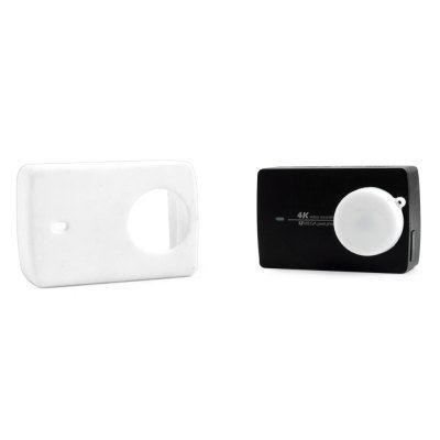 Защитный кейс + крышка на объектив для  Xiaomi Yi 2 4K XRS-XM56 ( Силикон / Белый)