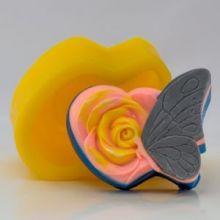 Форма для мыла Бабочка на розе (силикон)
