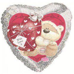 Сердце с мишкой шар фольгированный с гелием
