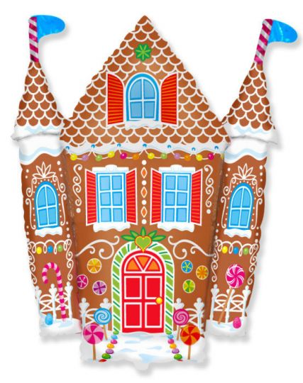 Пряничный домик фольгированный шар с гелием