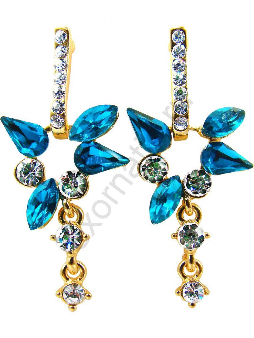 Серьги Taya LX. T-B-10024-EARR-GL.D.BLUE