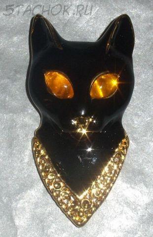 """Брошь """"Черная кошка"""" под золото / ювелирная эмаль"""