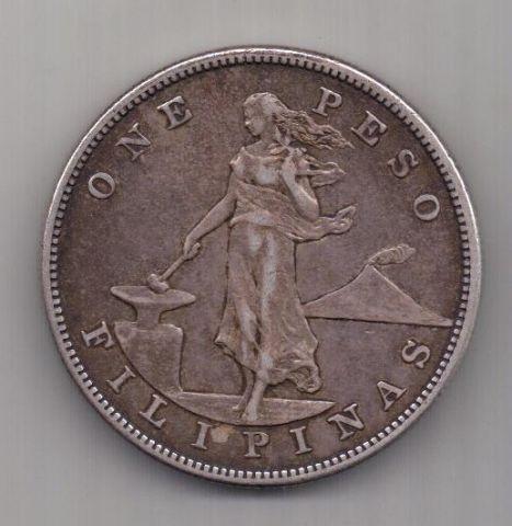 1 песо 1903 г. редкий год. Филиппины (США)