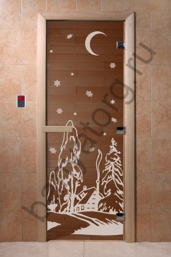 Дверь для бани DoorWood Зима Бронза