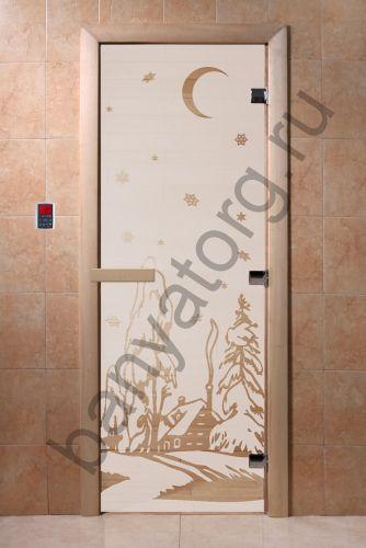 Дверь для бани DoorWood Зима Сатин