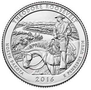 25 центов США 2016, 34-й Национальный парк Теодора Рузвельта. Theodore Roosevelt in North Dakota