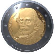 400 лет co дня смерти Шекспира 2 евро Сан-Марино 2016 на заказ