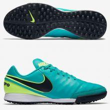 Шиповки-сороконожки Nike Tiempo Genio II Leather TF бирюзовые