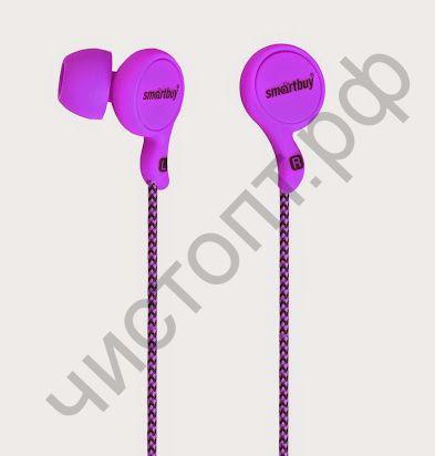 Наушники SmartBuy® MANGA, фиолетовые ( SBE-1030)  вакуум. текстильный шнур