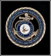 Жетон ВМФ США Якорь цветной позолота